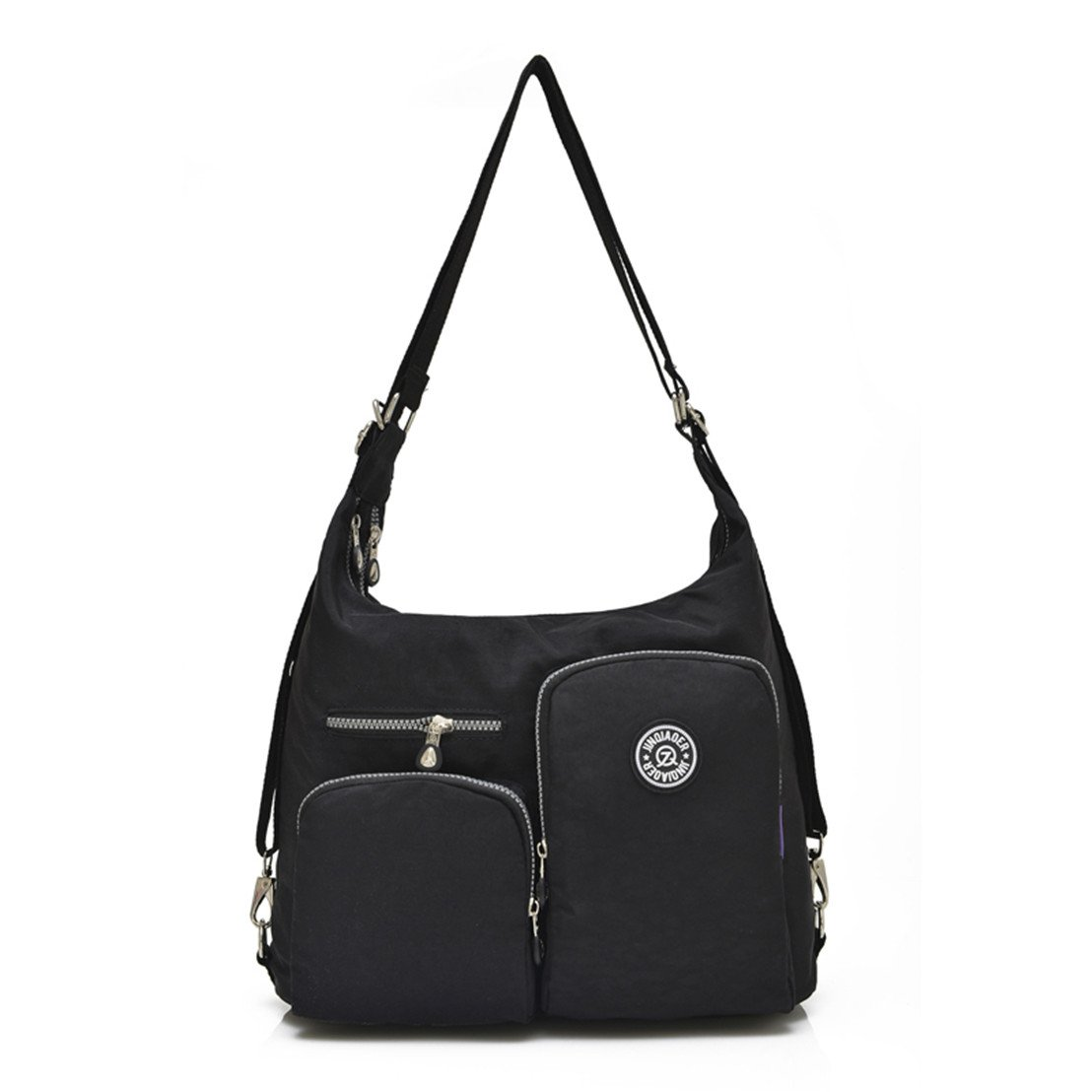 TianHengYi Women's Multifunctional Water Resistant Nylon Shoulder Bag Solid Travle Backpack Organizer Black