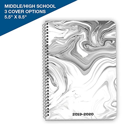 Dated Middle or High School Student Planner 2019-2020 Academic Year, 5.5x8.5 inch Block Style Datebook with Steamboat Marble Cover