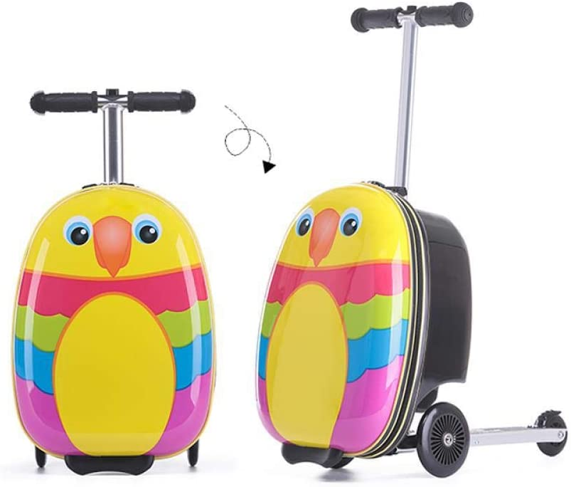 Hokaime Equipaje de Scooter para niños Maleta de Trolley para niños Equipaje de Scooter Plegable Equipaje de monopatín de Dibujos Animados para niños y niñas para niños, Pollo