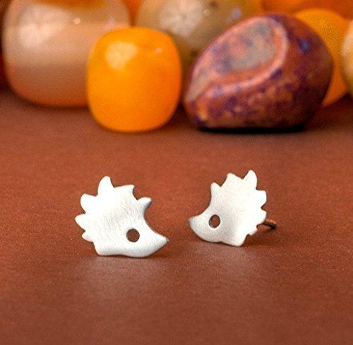 Hedgehog stud Earrings in sterling silver Woodland Jewelry Pet Earrings Animal jewelry Fall 0.0011