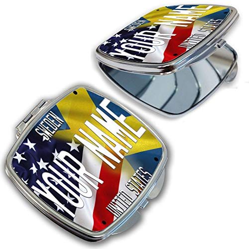 (BRGiftShop Personalize Your Own Mixed USA and Sweden Flag Compact Pocket Cosmetic Mirror)