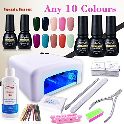 (Pick Any 10 Colors) Nail Art Polish Top Base 36W UV Lamp...
