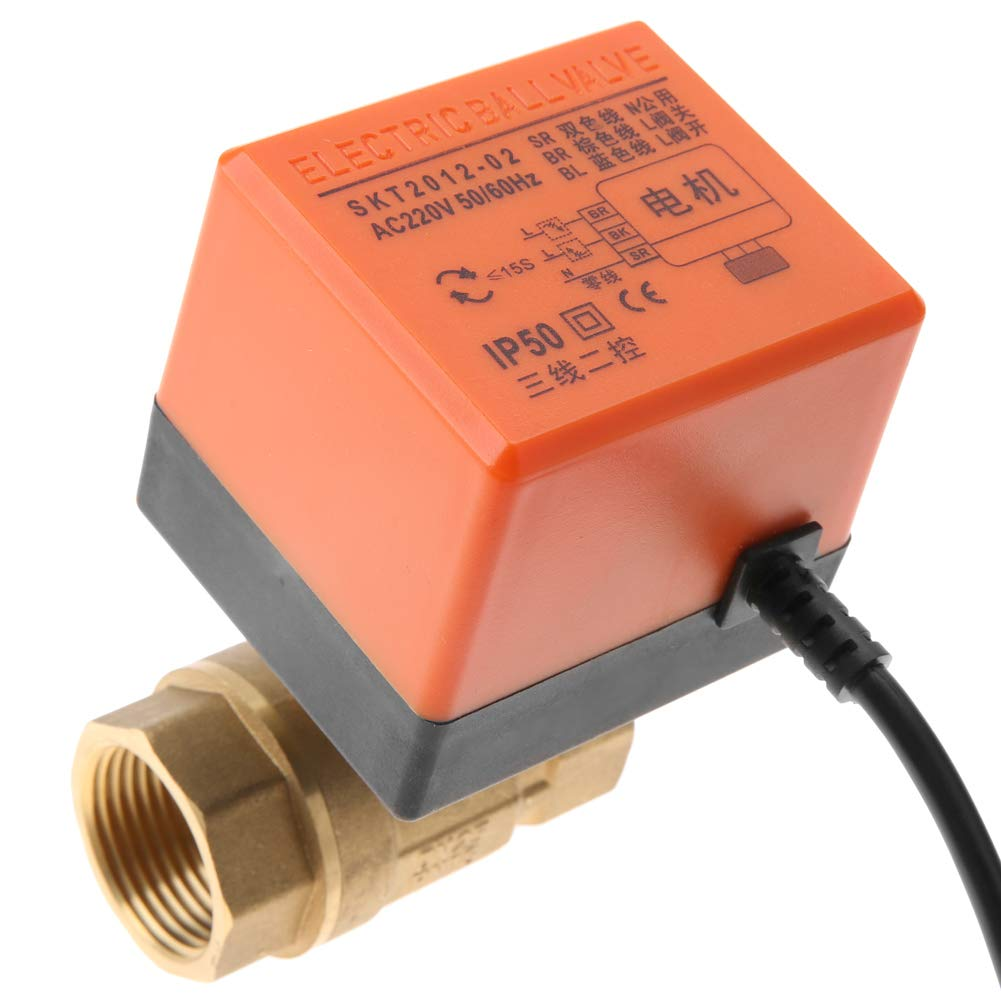 lat/ón V/álvula de bola motorizada CA 220V G1 DN25 V/álvula de bola motorizada el/éctrica de control de 2 puntos 3 hilos