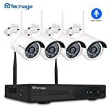 Techage Wifi Camera System with Audio 4CH 1080P Wireless NVR Kit Indoor & Outdoor, Wifi IP Camera P2P Security Surveillance System, Hear Sound from App (Without Hard Drive, White)