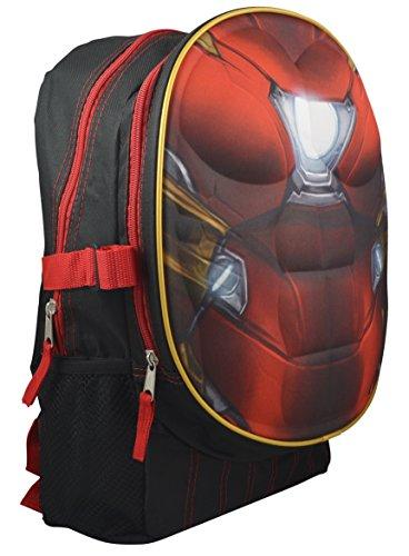 Marvel DC Comics Superheroes Domed Shaped 3D Pop Out Boys 16 School Book Bag (Ironman)