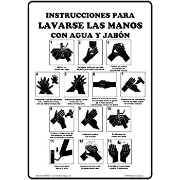 ComplianceSigns Vertical Plastic Hand Washing Instructions For Soap And Water Spanish Sign, 10 X 7 in. with Spanish Text, White