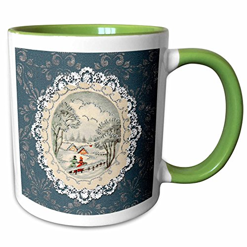 (3dRose Beverly Turner Christmas Design - Couple in Snow Scene, Vintage Postcard Look with Lace, Blue - 15oz Two-Tone Green Mug (mug_195860_12))
