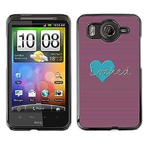 For HTC Desire HD / G10 / inspire 4GCase , Teal Love Locked Stripes Lines Heart - Diseño Patrón Teléfono Caso Cubierta Case Bumper Duro Protección Case Cover Funda