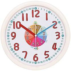 Kids Wall Clock Baby Nursery Large 12 Wall Clock In Kid's Room Clock Bedroom Silent Non Ticking Analog Quartz Home Colorful Read Learn Time for Unisex Kid Room/Nursery Playroom/School(Beige)