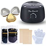 Wax Warmer, Kapmore Electric Wax Heater Waxing Hair Removal Kit with 2 Hard Wax Beans ,20 Wax Applicator Sticks, 3 Bowl and Disposable Gloves for Facial Skin Body Hand Foot Leg Hair Removal