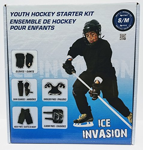 Winnwell Ice Invasion 8-Piece YOUTH Ice Hockey Starter Kit, Pads Gloves - Ice Youth Equipment Hockey