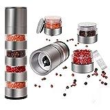 DOXHAUS Grinder Space Saving Caravan Salt Pepper Spice Mill Multi Layer with Adjustable Ceramic Coarseness, Stainless Steel Transparent