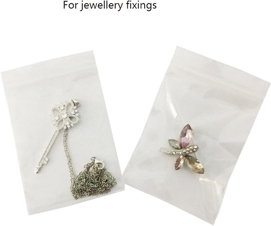 pacco da 100 della dimensione di 60 x 80/mm dunque riutilizzabili Sacchettini di plastica perline e vitamine trasparenti e con chiusura adatti per riporvici gioielli