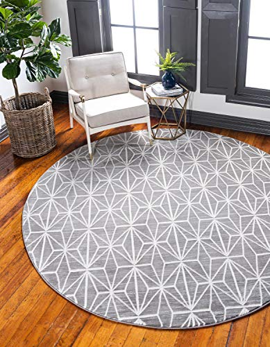 Unique Loom Uptown Collection by Jill Zarin Collection Geometric Modern Gray Round Rug (8' 0 x 8' 0) (Zara Rug Collection)
