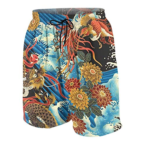 Boys Teens Swim Trunks Beach Shorts Quick Dry Eastern Chinese Style Dragon Phoenix Sea Wave Beachwear Summer Cool Bathing Suits with Pockets White