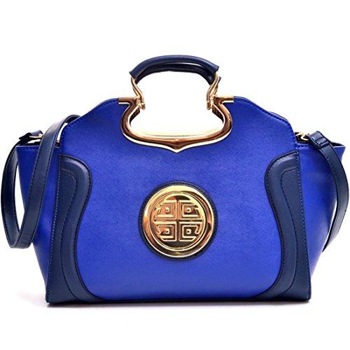 Dasein Drop Handle Raised Stitch Winged Handbag Purse Shoulder Strap Royal Blue