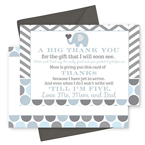 Blue Elephant Baby Shower Thank You Postcard Set of 15 (Cards with Envelopes) ()