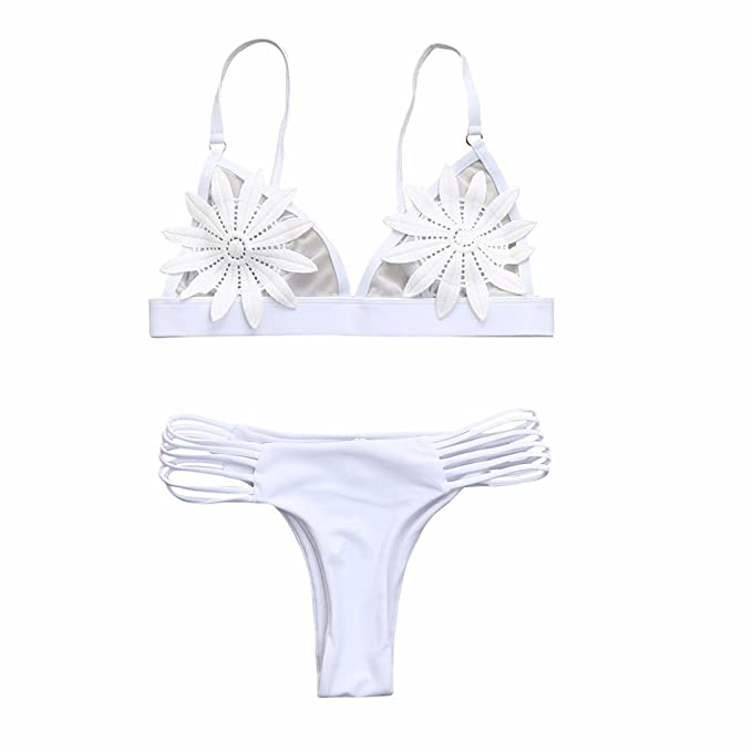 97659ff269 Amazon.com: Sexy Bikini,Women Bikini Set White Flower Mesh Hollow Thong Swimwear  Bathing Swimsuit with Padded: Clothing