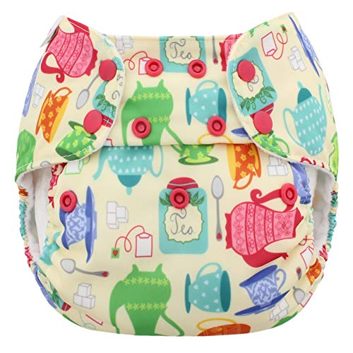 Blueberry One Size Simplex All in One Cloth Diapers, Made in USA (Tea Time)