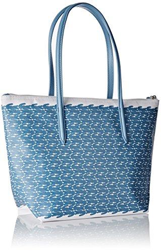 Lacoste NF1719CX, Bolso Bandolera para Mujer, 24.5 x 14 x 23.5 cm AZUL CROC (Blue Croc)