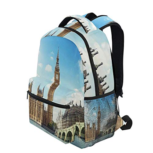 KVMV Scenery of Big Ben Westminister Brigde Thames River and Houses Parliament Lightweight School Backpack Students College Bag Travel Hiking Camping Bags