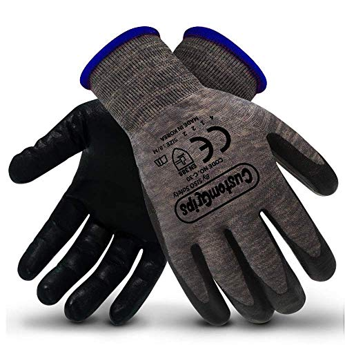 CustomGrips Cut Resistant Work Gloves. Span-Nylon Polyester Liner, Level 4 Abrasion Resistance, Nitrile Foam Palm Coated. Superior Breathability & Grip for All Day Comfort. [Medium, 12 ()