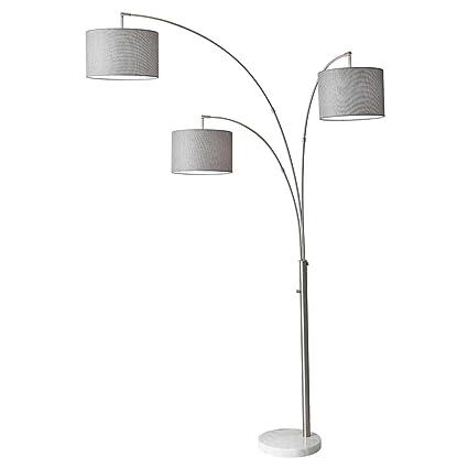 3 Light Floor Lamp Classy Amazon Adesso 6060 Bowery Arc 60Light Floor Lamp Steel