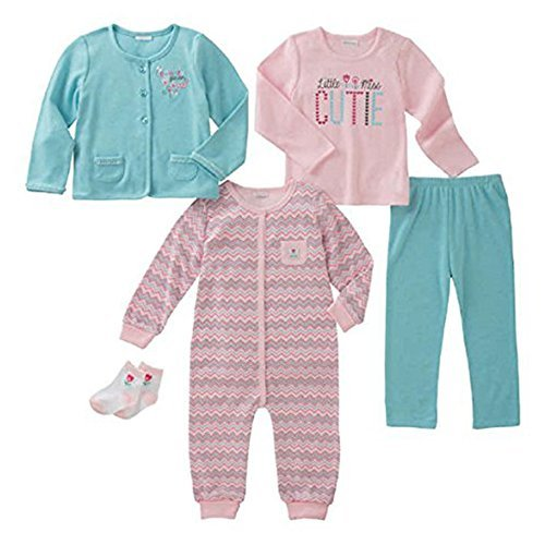 absorba Infant 5-Piece Set (Jacket, Shirt, Bodysuit, Pant and Socks) (6M, Pink Hound - Zigzag) ()