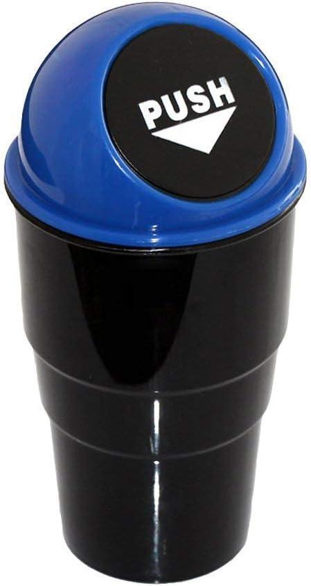 Blue Plastic Auto Car Trash Bin Rubbish Can Dust Case Holder Garbage Storage