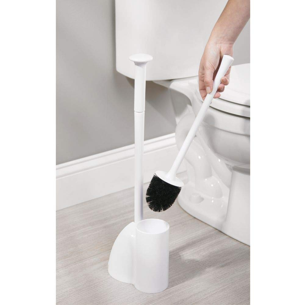 mDesign Modern Slim Compact Freestanding Plastic Toilet Bowl Brush Cleaner and Plunger Combo Set Kit with Holder Caddy for Bathroom Storage and Organization - Covered Lid Brush, 2 Pack - White by mDesign (Image #5)