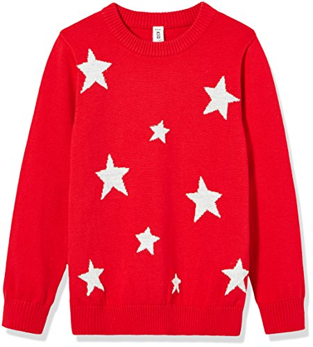 Kid Nation Girls' Long Sleeve Star Pullover S Red ()