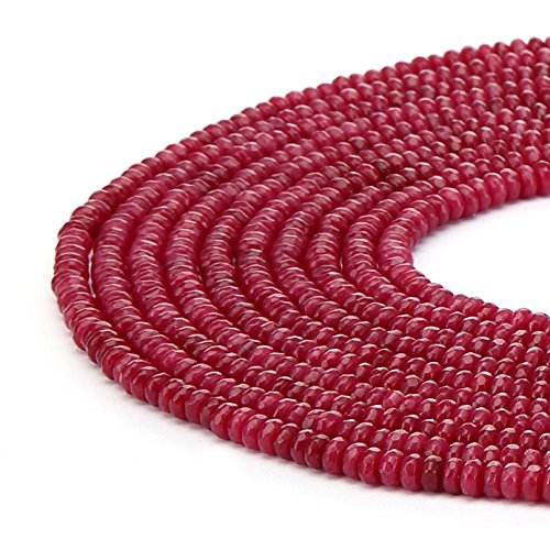 Jade Rondelle Beads - BRCbeads Ruby Color Jade Gemstone Faceted Rondelle Loose Beads 4x6mm Approxi 15.5 inch 95pcs 1 Strand per Bag for Jewelry Making