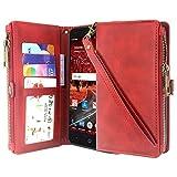 ZTE ZMax One Case, ZTE Grand X4 Case, ZTE Blade Spark Case, Linkertech Premium Leather Flip Zipper Wallet Case Cover with Card Holder and Wrist Strap for ZTE ZMax One Z719DL (Zipper Red)