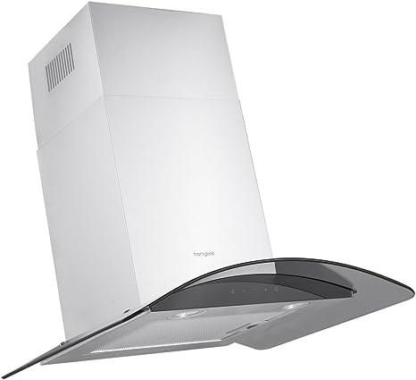 homgeek pared Campana campana extractora/cristal curvado/60 cm/400 M3/H/Iluminación LED/3 niveles/Touchcontrol: Amazon.es: Hogar