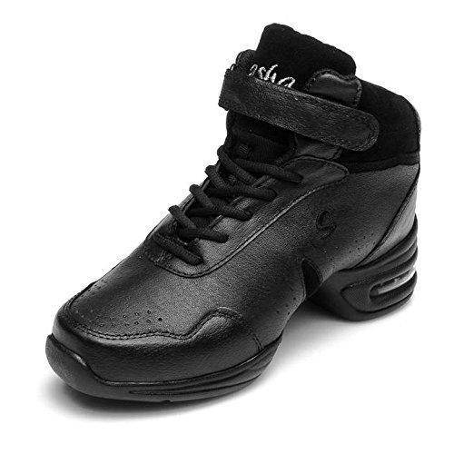 Hroyl Womens Öka Dans Sneaker Jazz Sneaker Läder Och Mesh Övre Att Du Tycker Om Att Dansa Modell B51 Svart