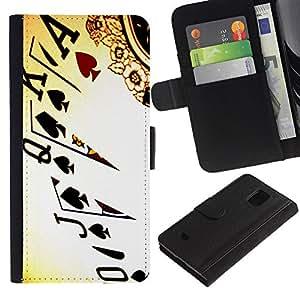 LASTONE PHONE CASE / Lujo Billetera de Cuero Caso del tirón Titular de la tarjeta Flip Carcasa Funda para Samsung Galaxy S5 Mini, SM-G800, NOT S5 REGULAR! / Cards Poker Ace King Queen Game Play Art