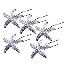 AENMIL U-Shape Starfish Hairpin, 5PCS Pack Crystal Diamond Hair Pin for Bride Wedding Headdress Accessories