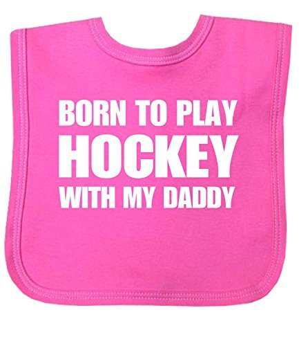 BabyPrem Baby Born to Play Hockey With My Daddy Clothes Bib One Size (Hockey Baby Bib)