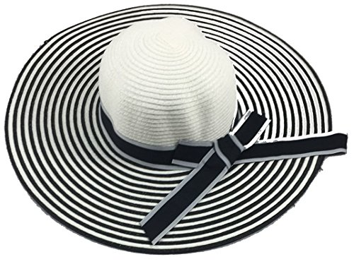 Wide Brim Large Stripped with Bow Floppy Summer Straw Sun Hat Headwear by Shoe Shack (Image #1)