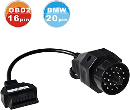 20 Pin to OBD2 OBDII Female 16 Pin Adapter Cable for BMW Diagnostic Connector