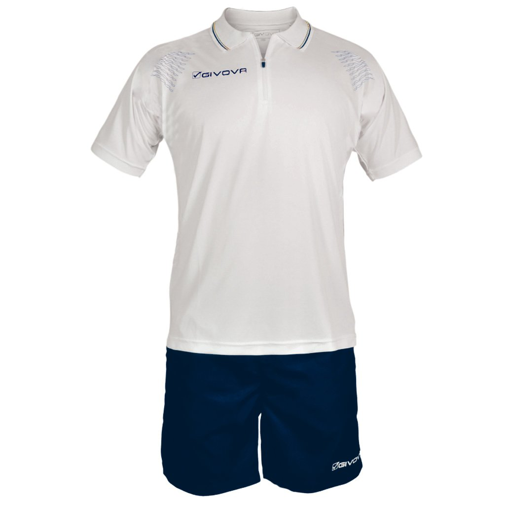 TALLA 2XL. Givova, kit easy, blanco/azul , 2XL