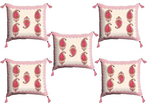 (Vintage Ethnic Indian Rajasthani Decor - Traditional Cotton Cushion Cover Living Room Home Decorative Throw Pillow for Sofa and Couch Hippie Boho Shams Case Set of 5 - Pink - 16 X 16 inch)