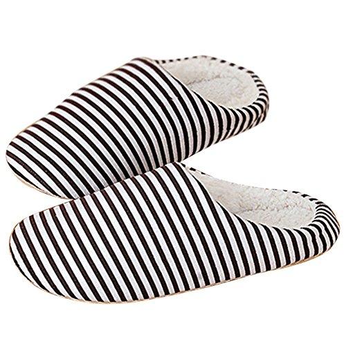 Hestio Unisex Rigato Comfort Caldo Inverno Scarpe Pantofole Antiscivolo Caffè