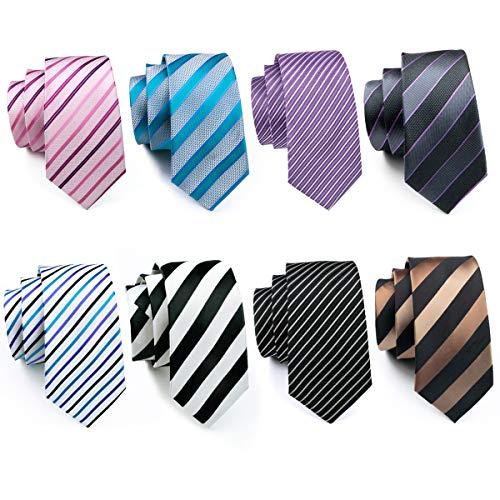 Stripe Ties Silk Men Set Business Tie Black Gray Formal Tie Wedding Woven Party Prom