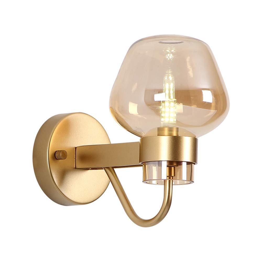 Einfache Wohnzimmer Wandlampe Kreative Schlafzimmer Nachtwand Wandlampe Nordic Gang Balkon Glaswand Lampelampenfassung G9, L12.5 cm H19 cm (Farbe   Gold),Gold
