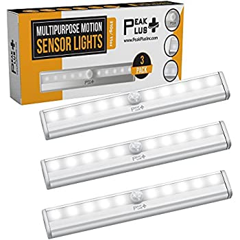 LED Motion Sensor Night Light, Stick On Lights, LED Closet Light 10 LED Battery Operated Lights [3 Pack] - Magnetic Wireless Motion Sensor Light Strip for ...