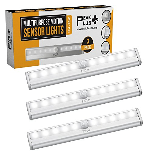 PeakPlus LED Motion Sensor Night Light, Stick On Lights, LED Closet Light 10 LED Battery Operated Lights [3 Pack] - Magnetic Wireless Motion Sensor Light Strip for Closet, Under Cabinet, Stairs