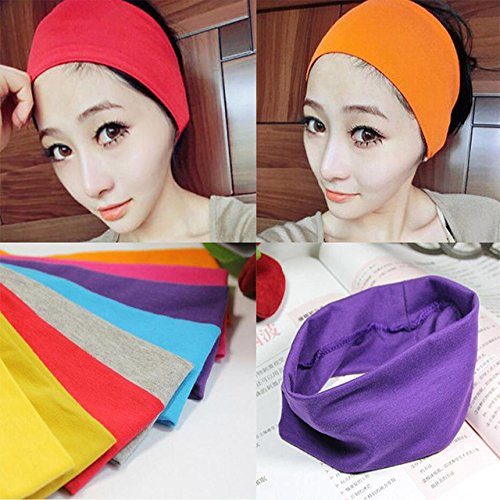 5 Pcs Fashion style lady cotton absorbing sweat Yoga headband candy color sport sweat hair band popular hair accessories for women