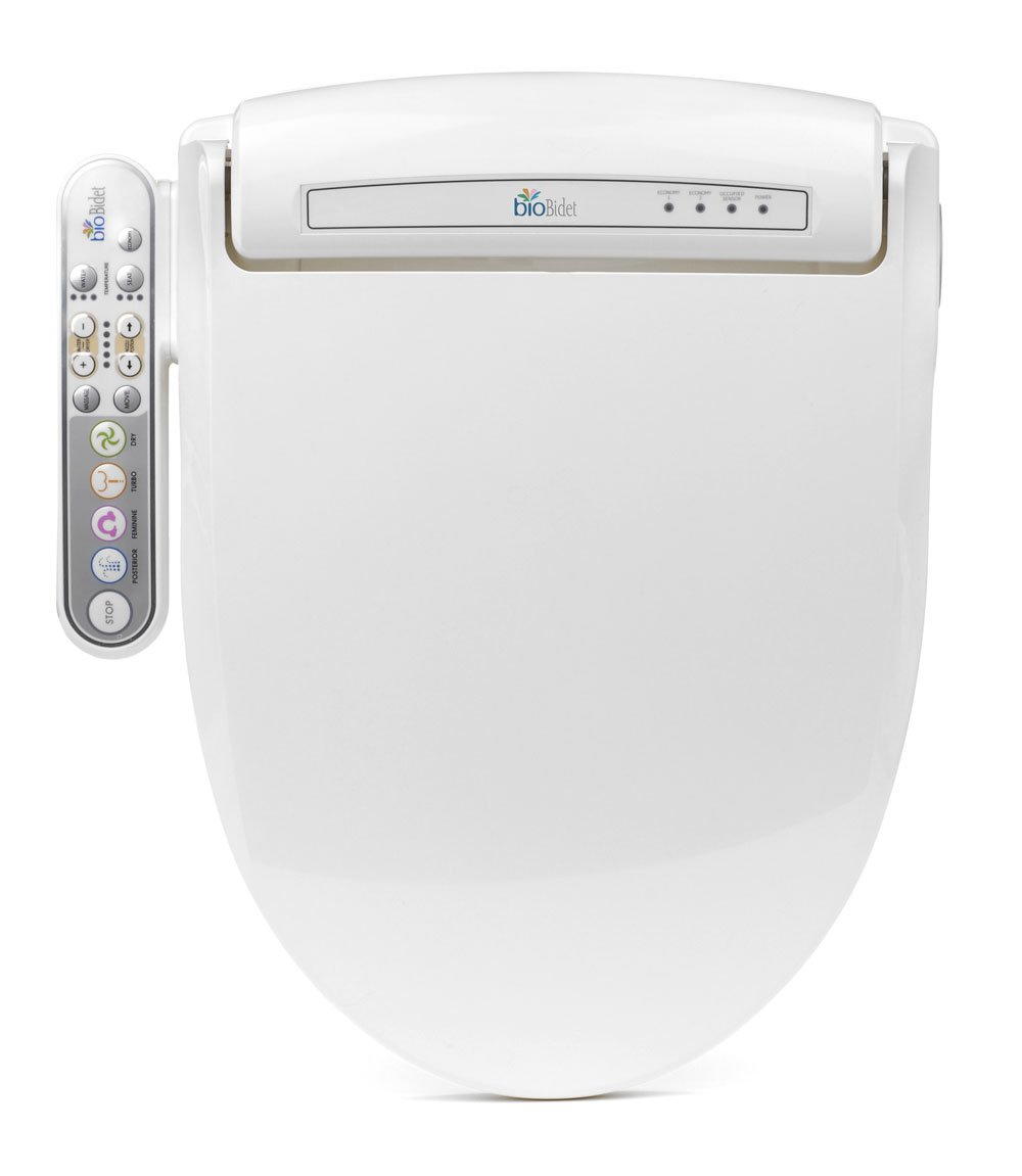 BioBidet Prestige BB-800 Elongated White Bidet Toilet Seat, Adjustable Warm Water, Self Cleaning, Side Panel, Posterior Feminine and Vortex Wash, Electric Bidet, 3 in 1 Nozzle, Power Save Mode by BioBidet