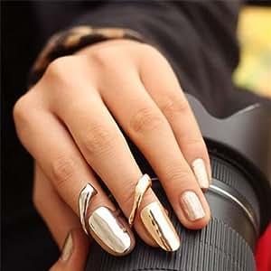 Amazoncom Europe Punk Golden Sliver Finger Opening Ring Nail Ring